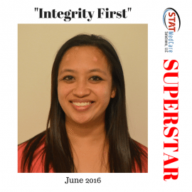 "Exemplifying ""Integrity First"" – Performer of the Month, June 2016, Joy Ortiz"