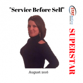 "Personifying ""Service Before Self"" – Performer of the Month, August 2016, Melissa Anderson"