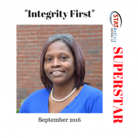 "Exemplifying ""Integrity First"" – Performer of the Month, September 2016, Judy Booker"