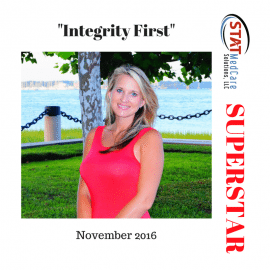 "Exemplifying ""Integrity First"" – Performer of the Month, November 2016, Jennifer Mikel"