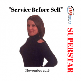 "Personifying ""Service Before Self"" – Performer of the Month, November 2016, Melissa Anderson"